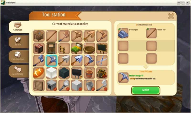 Crafting protective equipment in Mini World
