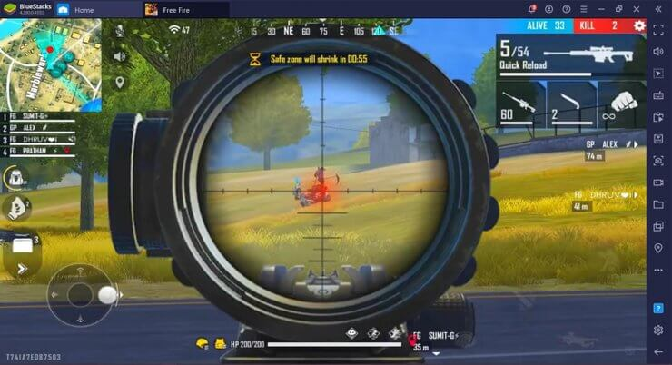 Use a sniper rifle in Free Fire